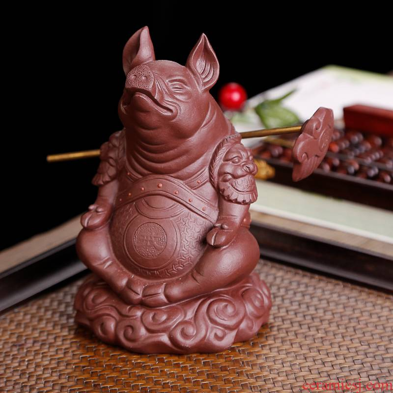 Pig furnishing articles pet boutique tea can keep violet arenaceous individuality creative tea accessories decoration tea table decorations hand to play