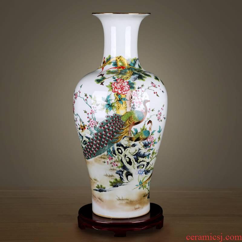 Jingdezhen ceramic vase furnishing articles large sitting room of Chinese style household flower arranging TV ark, rich ancient frame decorative porcelain