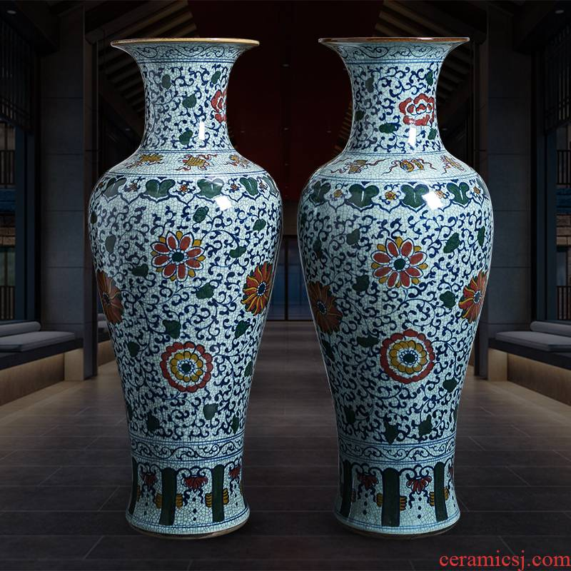 Jingdezhen ceramics extra large antique hand - made furnishing articles new Chinese blue and white porcelain vase sitting room ground decoration