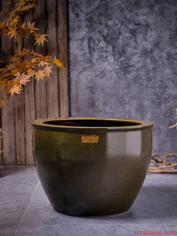 Ceramic VAT coarse pottery restoring ancient ways round the altar tank water lily tortoise tank floor is suing furnishing articles furnishing articles courtyard garden