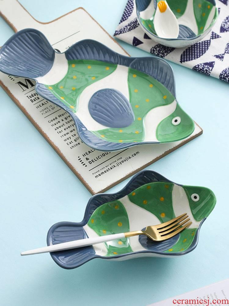 Jingdezhen ceramic bowl household new fish dish cartoon creative express one person eating a single combination