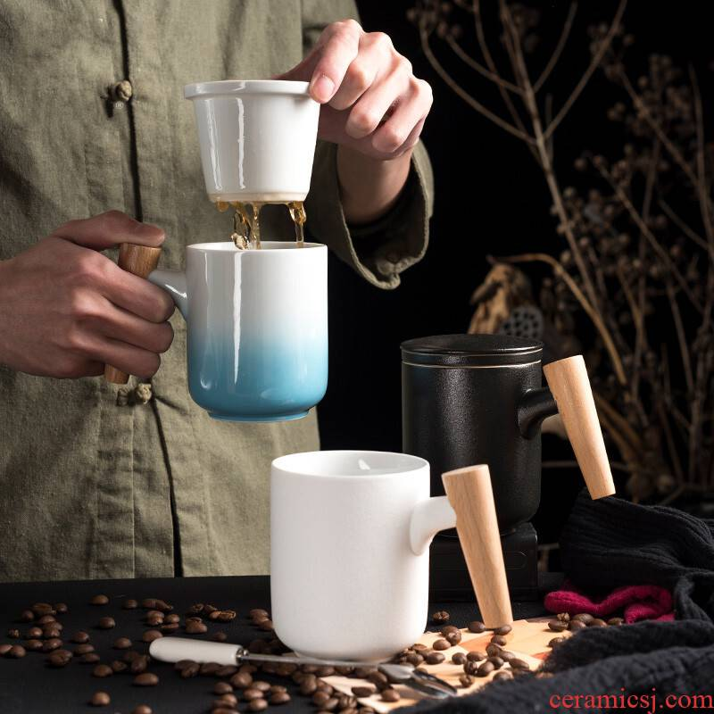 Together with wooden handle, scene mark cup of filtered coffee cup with cover ceramic spoon big cups office ultimately responds scented tea cup order