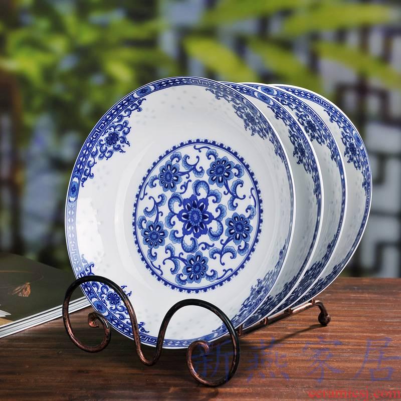 0 home the scene for jingdezhen blue and white porcelain ceramics deep ipads porcelain soup plate FanPan dumplings plate of flat plates