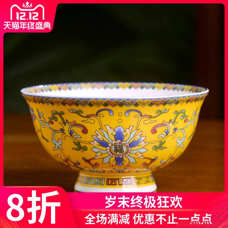 Jingdezhen high - grade ceramic antique ipads porcelain rice bowls of Chinese style household big birthday noodles in soup bowl of porridge bowl bowl of custom