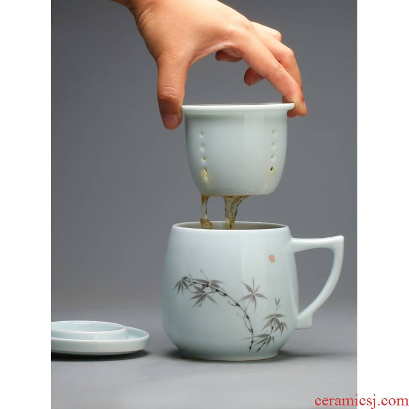 The Poly real boutique scene jingdezhen ceramic filter with cover mark cup tea tea cups to separate office