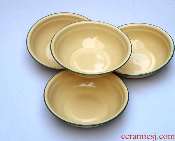 Nostalgic enamel enamel bowl rice basin old basin bowl of soup basin pure yellow bag in the mail