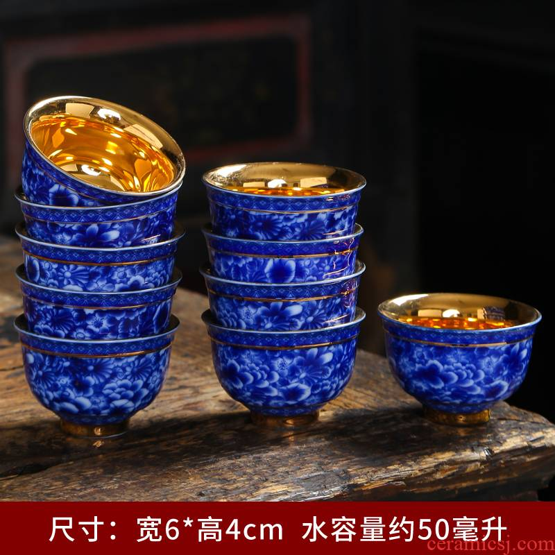 Tasted silver gilding manual paint ceramic cups kung fu tea set of blue and white porcelain sample tea cup white porcelain masters cup single small tea cups