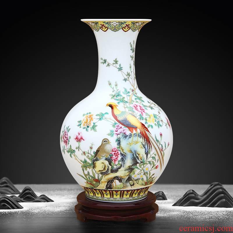 Peony pheasant to industry of jingdezhen ceramic vase