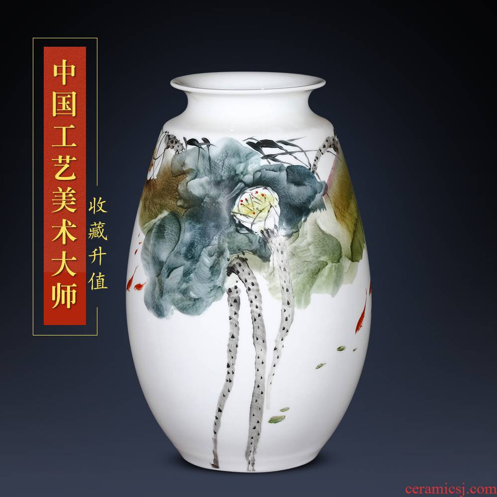 Jingdezhen ceramics hand - made Lai Dequan vases, flower arranging lotus pond interest Chinese style living room decorations home furnishing articles