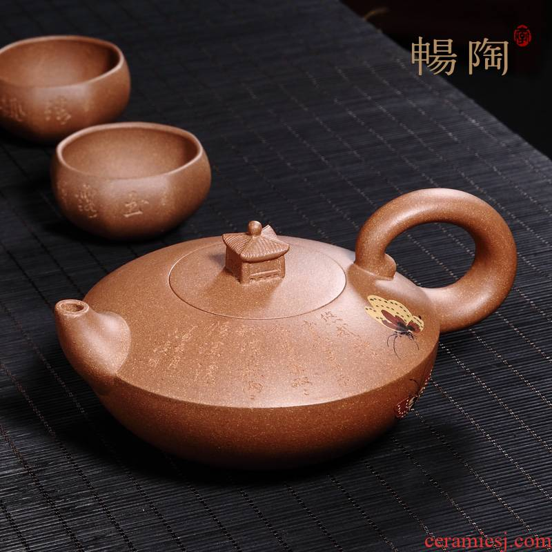 Shadow enjoy famous TaoJianChun 】 all hand it yixing teapot gold old mud butterfly pot of 350 c