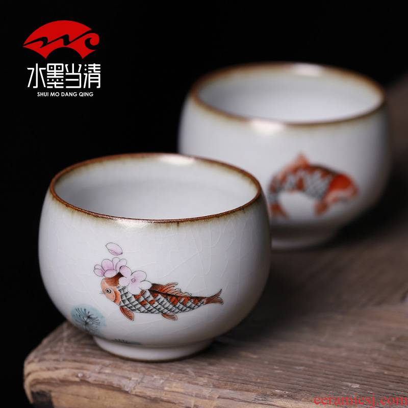 Tea master cup single cup your up hand - made slicing can raise large household sample Tea cup ceramic cups a single individual