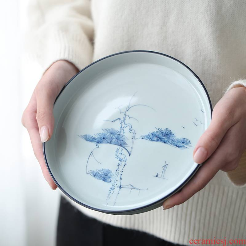 Clay hand - made archaize ceramic dry mercifully tea tray of blue and white porcelain pot adopt a pot of tea little tea tray tea tray