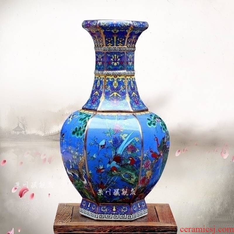 Jingdezhen pastel colored enamel porcelain painting of flowers and gold blue vase household flower arranging archaize sitting room mesa furnishing articles