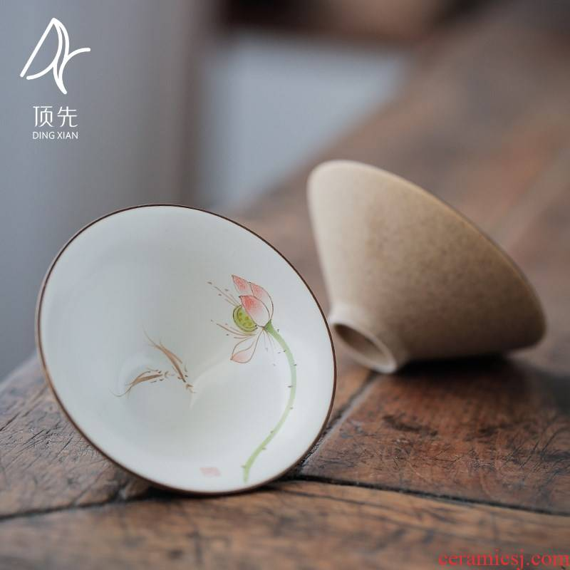 Jingdezhen up hand - made ceramic cup clay sample tea cup kung fu tea cup thick TaoPuEr cup single cup package mail