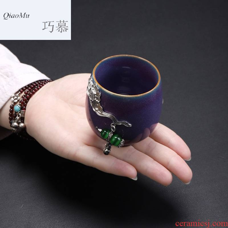 Qiao mu five ancient jun porcelain inlay silver cup up prosperous whitebait cup sample tea cup master cup a cup of tea