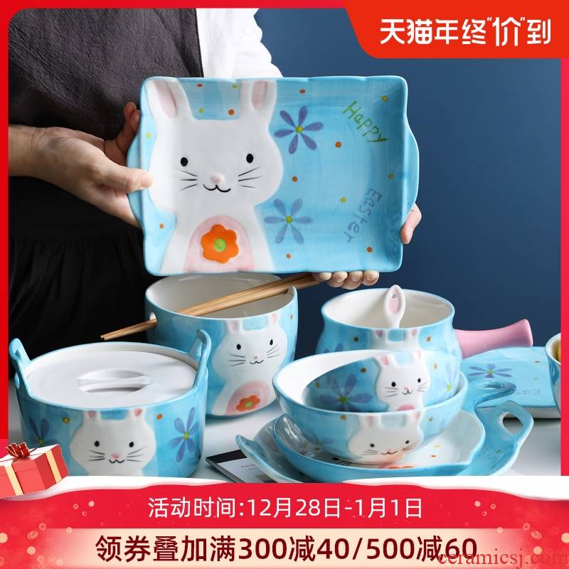 Ceramic dishes suit household dish plate disk soup bowl express cartoon eat bowl individual creative move tableware