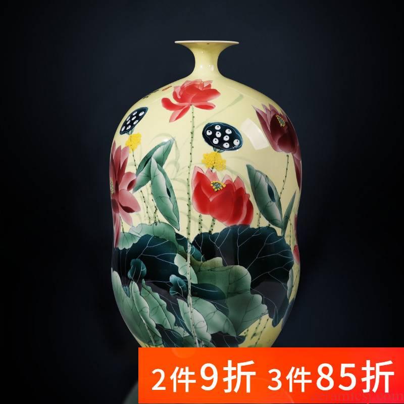 Jingdezhen ceramics powder enamel vase hand - made lotus gourd bottle of flower arranging furnishing articles sitting room of Chinese style household ornaments
