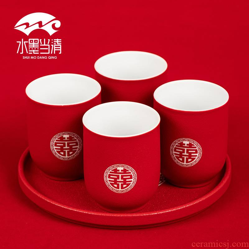 I xi suits for question new wedding ceramic cups red of Chinese style tea tray was gift boxes custom lettering