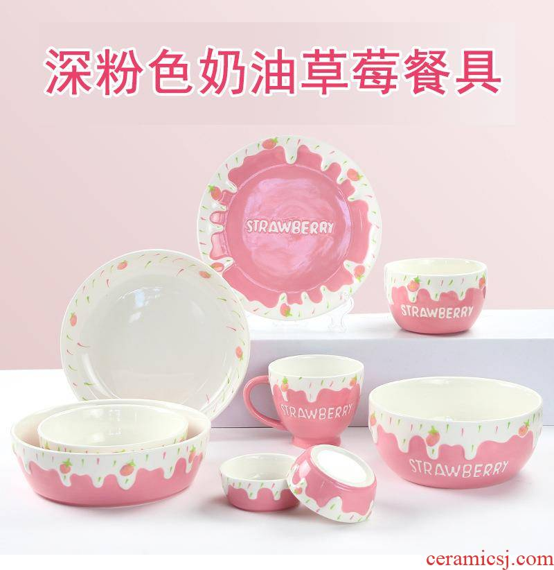 Hand - made ceramic dust under the glaze color girl heart home use anaglyph stereoscopic pattern with strawberries and whipped cream series tableware
