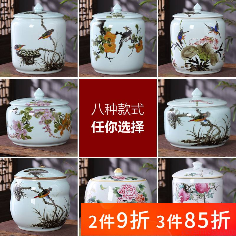 Jingdezhen ceramics hand - made large storage tank caddy fixings with cover pot sitting room of Chinese style household act the role ofing is tasted furnishing articles