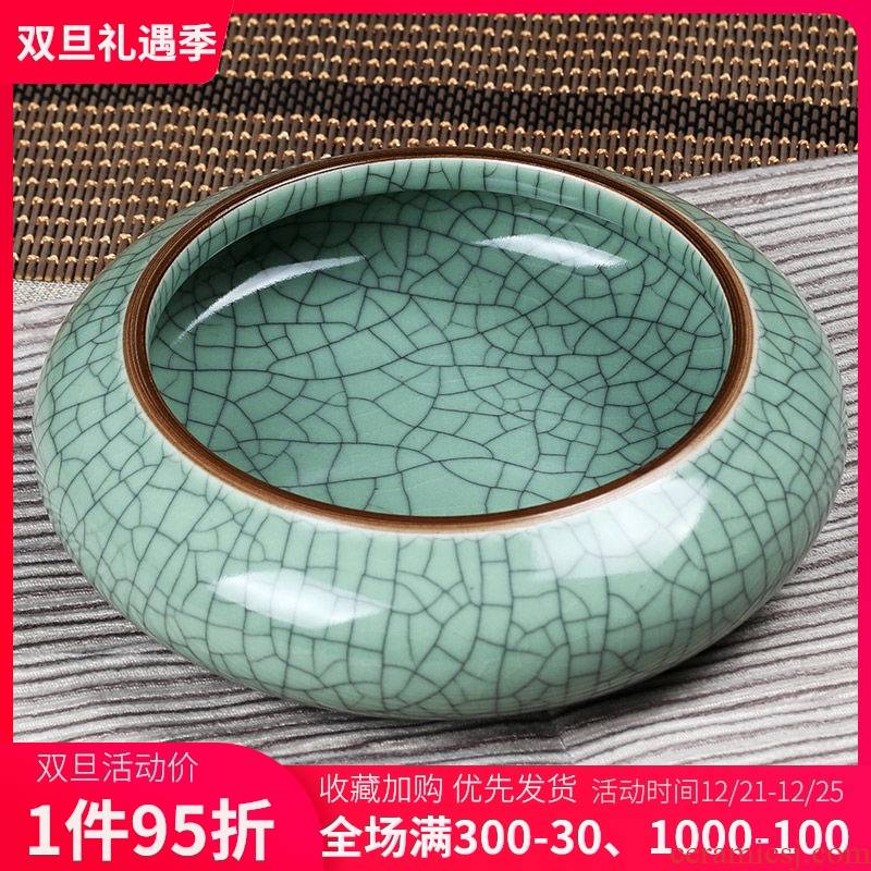 Jingdezhen ceramic writing brush washer crack glaze ceramic ashtray large tea wash to creative furnishing articles melon shell waste cylinder