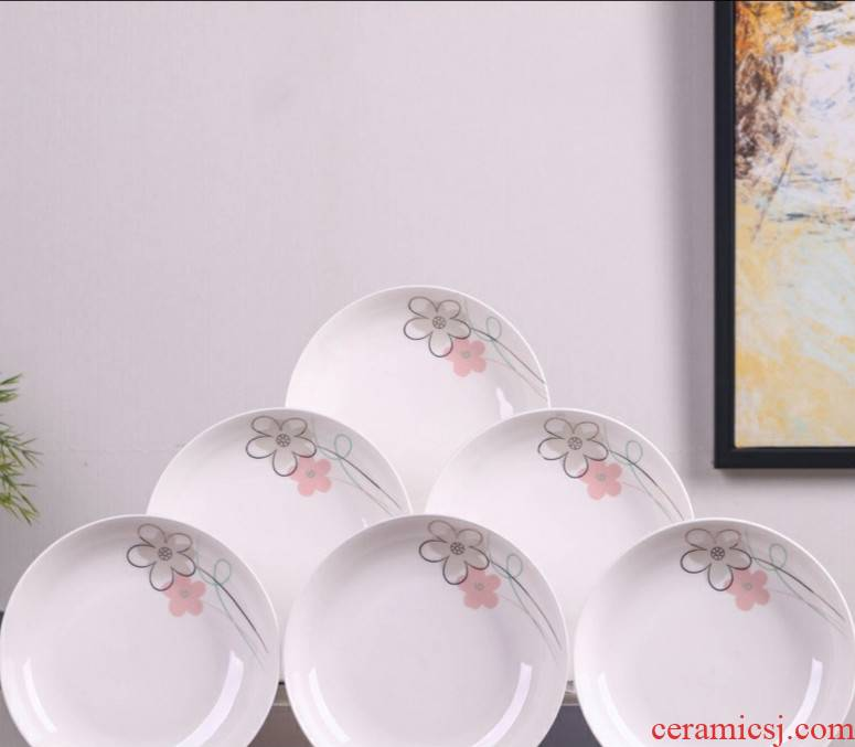 6 0 jingdezhen ceramic household plates, the plate suit creative combination of design and color tableware business dinner plate