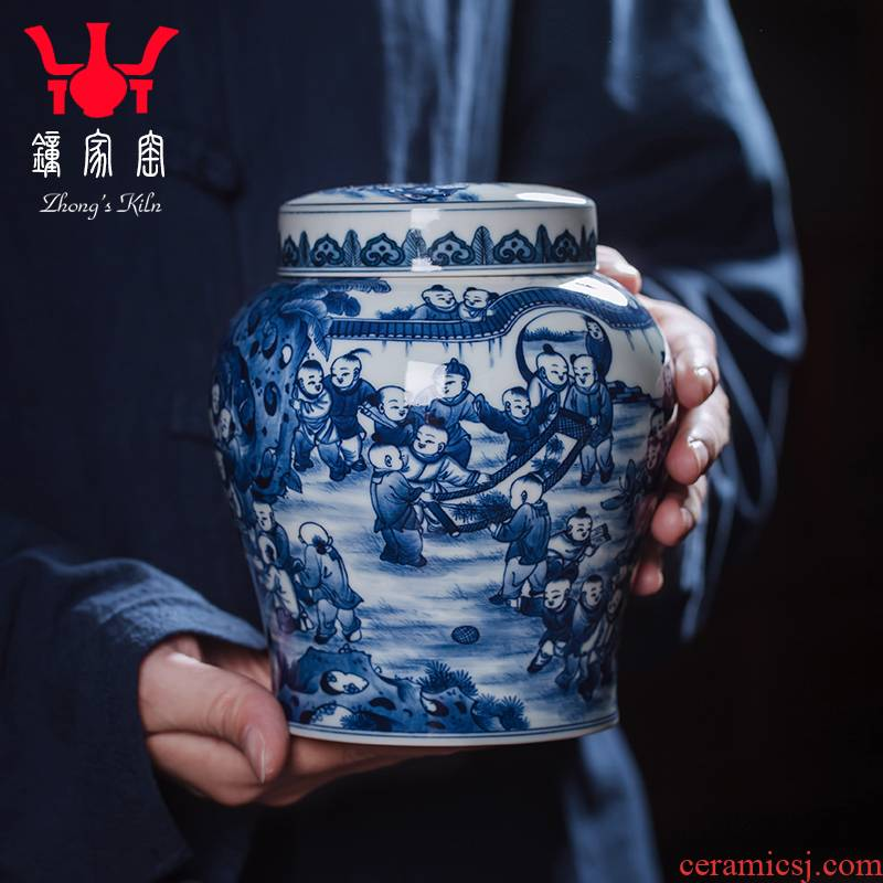 Clock home up ceramic tea pot home jingdezhen porcelain maintain figure figure POTS sealed jar hand - made the ancient philosophers