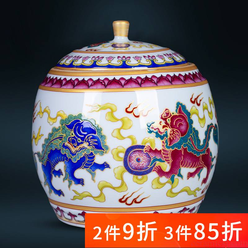 500 g of jingdezhen ceramic colored enamel lion ball puer tea loose tea caddy fixings retro small cover tank