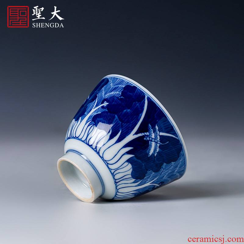 The big cup sample tea cup of pure hand - made ceramic kung fu jingdezhen blue and white cabbage masters cup tea set manually by hand