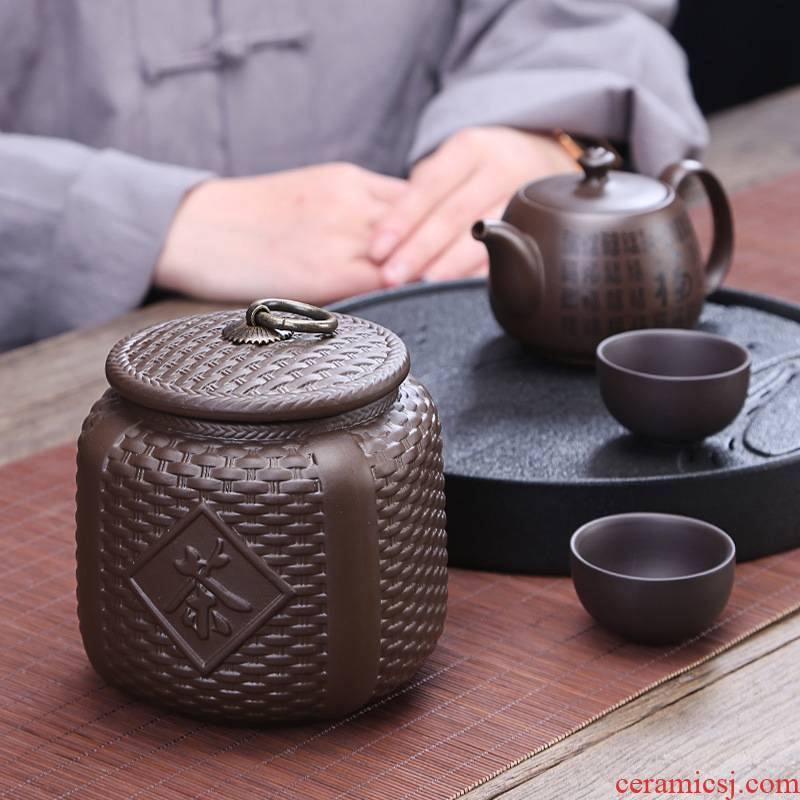 Restoring ancient ways the hutch creative violet arenaceous caddy fixings to domestic large seal pot of pu 'er tea packing box storage tanks