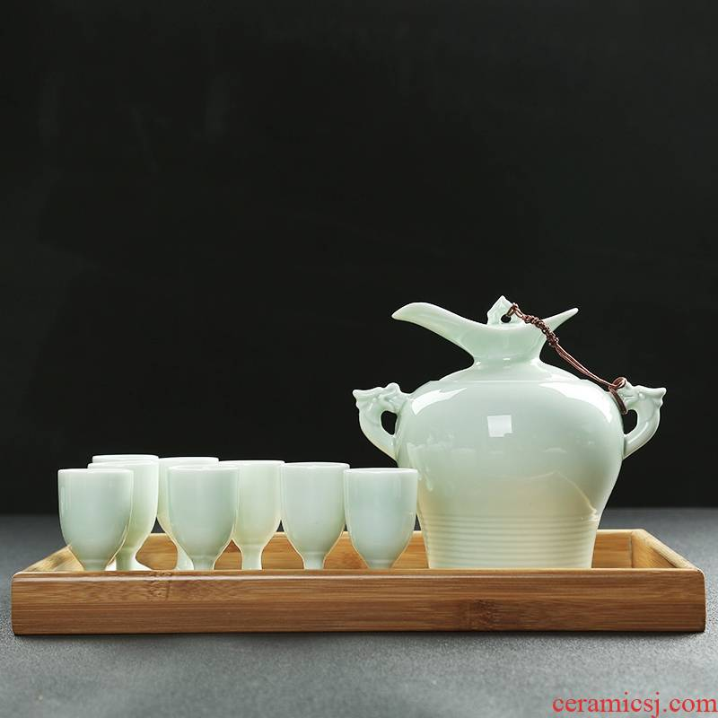 Qiao mu ceramic thermostat white iron yellow liquor hip warm wine set electric heating cooking restaurant by hip flask glass half a catty