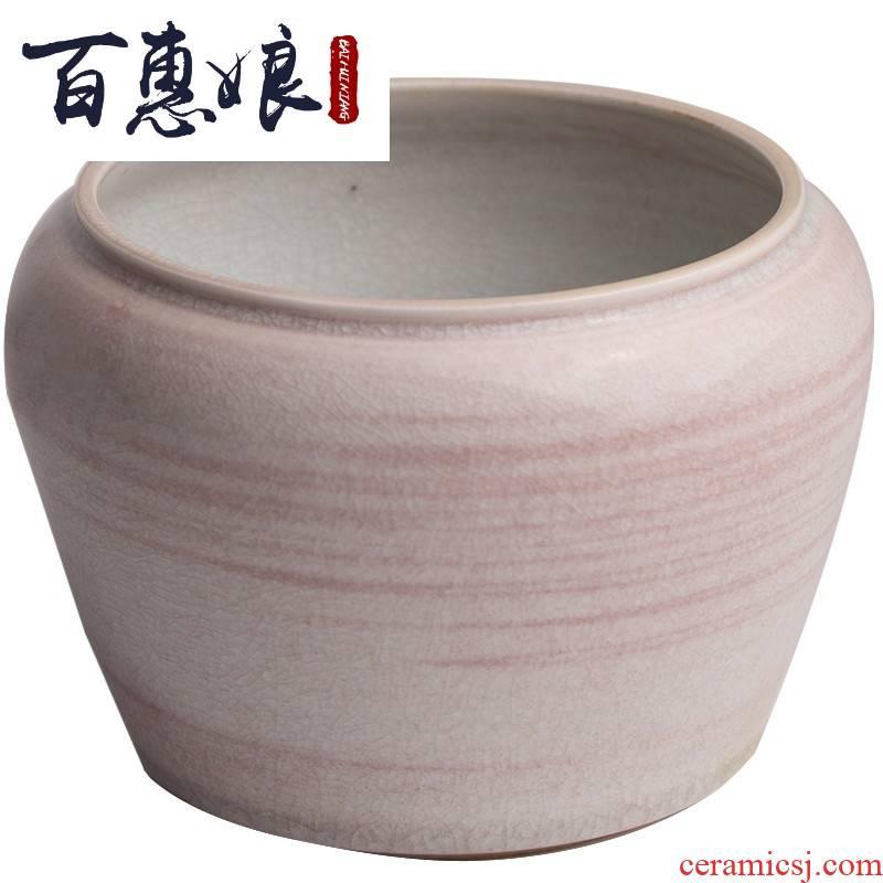 (niang jingdezhen all hand ChunHeJingMing ceramic glaze water jar to build water slag bucket ceramic flower tea