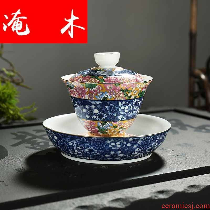 Submerged wood jingdezhen blue and white tureen famille rose flower is household ceramics colored enamel kung fu tea tea cup three to worship
