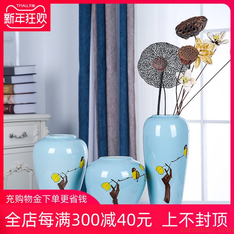 Jingdezhen ceramics new three - piece vase household of Chinese style painting of flowers and birds in the sitting room the desktop flower arranging, adornment is placed