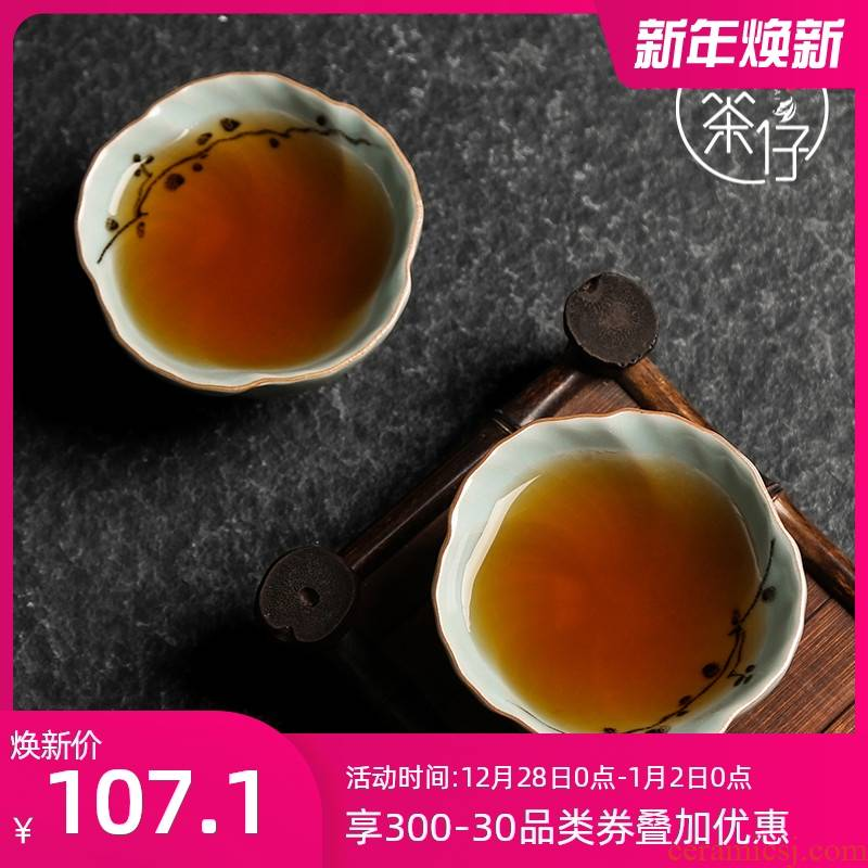 Your up kung fu tea cups master hand large ceramic cup single cup tea one day blue open sample tea cup