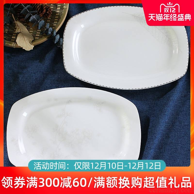 Creative household number fish dish of jingdezhen ceramics tableware can microwave rectangle Chinese dishes simple dishes