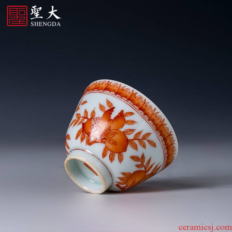 Holy big cup sample tea cup hand - made ceramic kungfu alum red see colour ave sanduo masters cup of jingdezhen tea service by hand