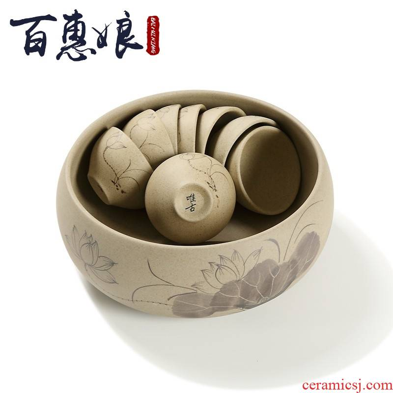 (niang | coarse pottery hand wash cup dish kung fu tea tea tea accessories copy is simple but elegant lotus restoring ancient ways