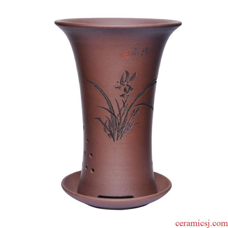 Orchid basin ceramic breathable purple sand flowerpot with tray trumpet bracketplant clivia special blue blue Orchid flower POTS