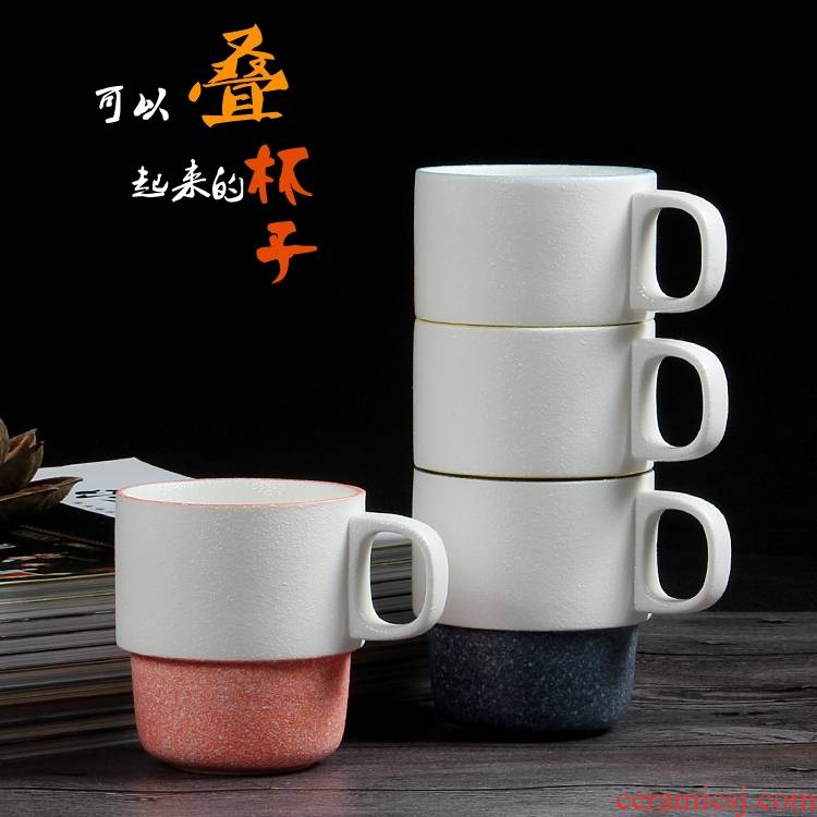 Qiao mu snow glaze creative Japanese contracted morning tea cup overlapping style ceramic keller cup overlapping cup expressions using for wash