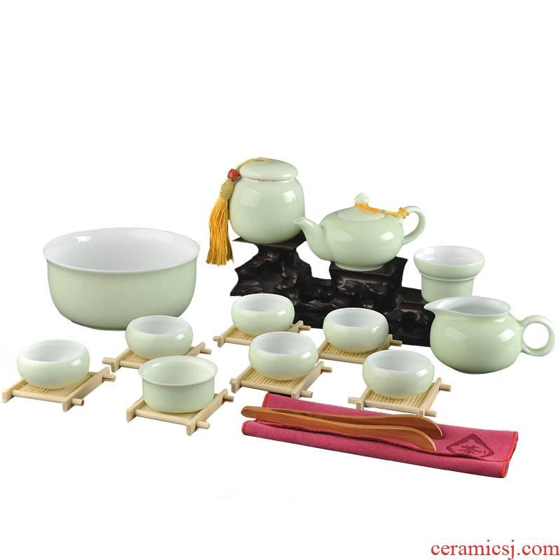 Qiao mu jingdezhen kung fu tea set suit household contracted celadon tureen tea cups of a complete set of ceramic tea