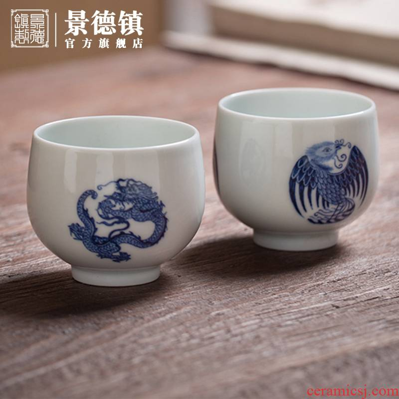 Jingdezhen flagship store group dragon group chicken master cup manual painting ceramic tea set restoring ancient ways only tea cups