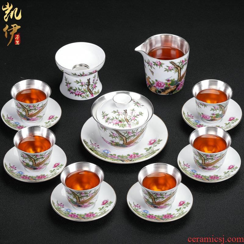 The Future tasted silver gilding kung fu tea sets jingdezhen ceramic tea set silver home office tea tureen gifts