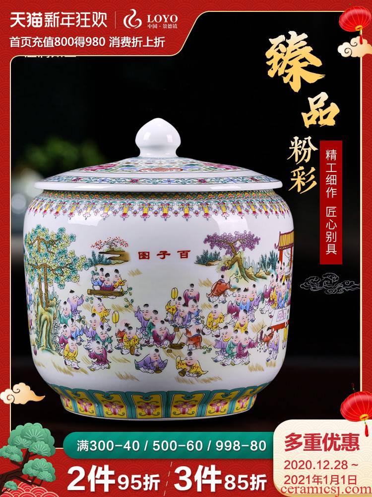 Jingdezhen porcelain tea pot home moistureproof large storage puer tea cylinder Chinese figure storage tank by the ancient philosophers