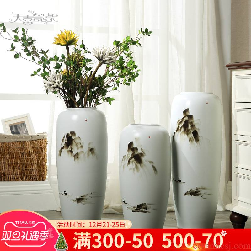 Modern new Chinese pottery and porcelain of large vases, creative zen sitting room porch furnishing articles dry flower arrangement craft ornaments