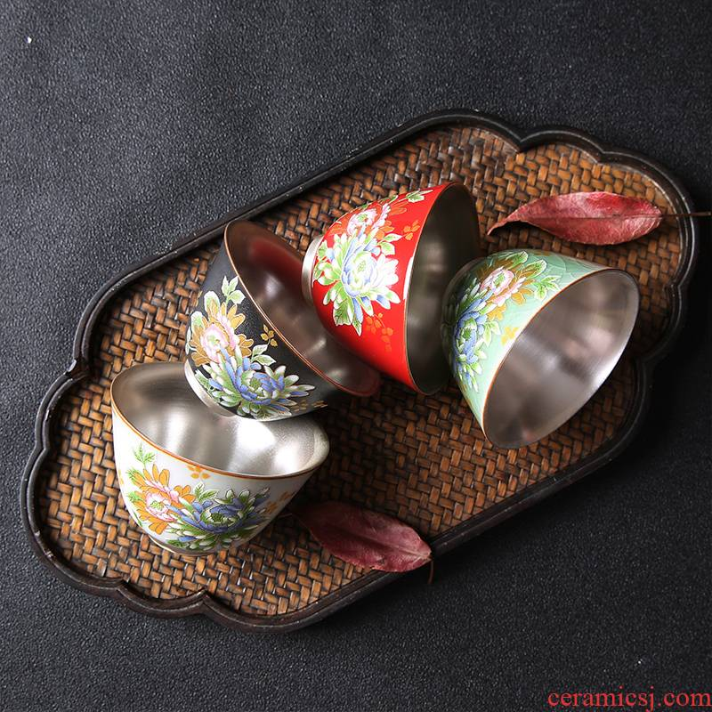 Ceramic cup silver sterling silver 999 kung fu tea tea set, perfectly playable cup suit large tasted silver gilding customize sample tea cup