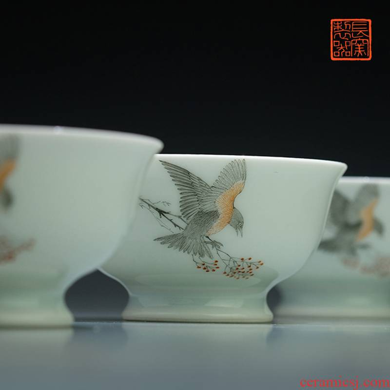 Rare and offered the home - cooked ju long up controller color ink figure view taste a cup of tea cups sample tea cup of jingdezhen ceramic tea set by hand