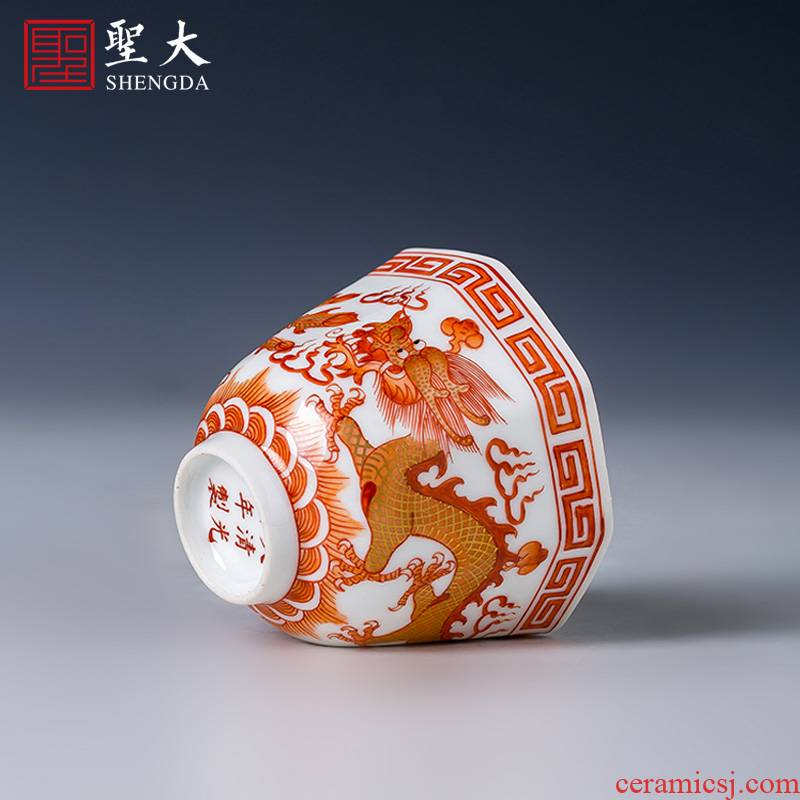 Holy big cup sample tea cup hand - made ceramic kungfu alum red paint longfeng grain eight square cup of jingdezhen tea service by hand