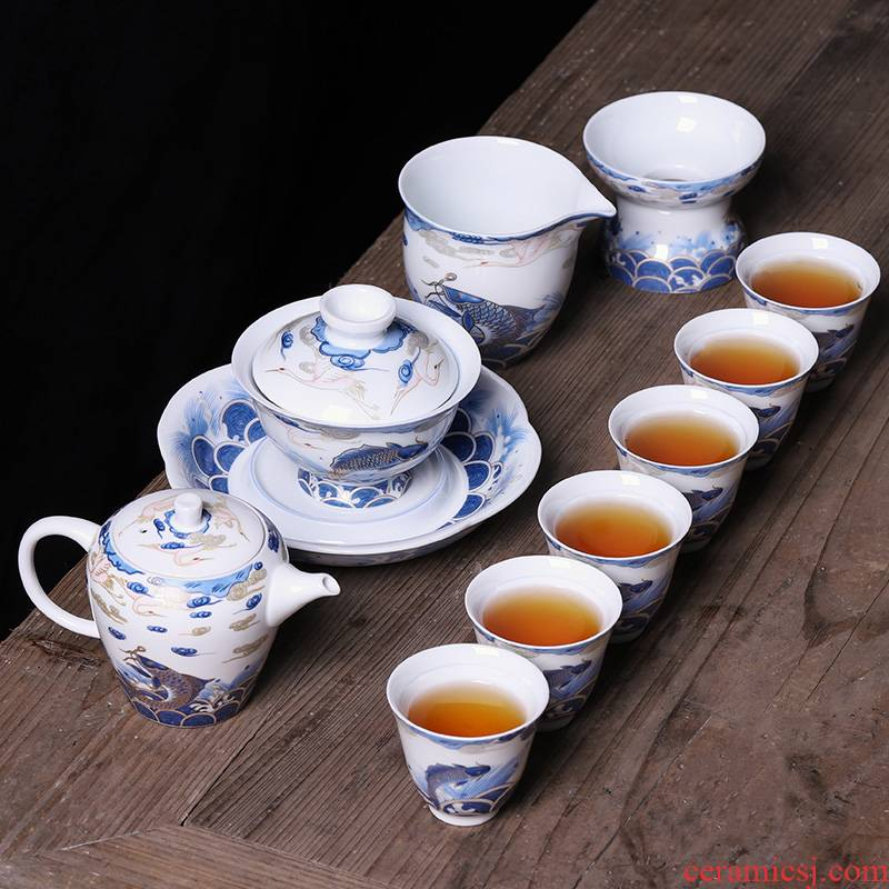 Blue and white porcelain tea set household jingdezhen ceramic teapot teacup kung fu 6 sitting room tea high - end gift box