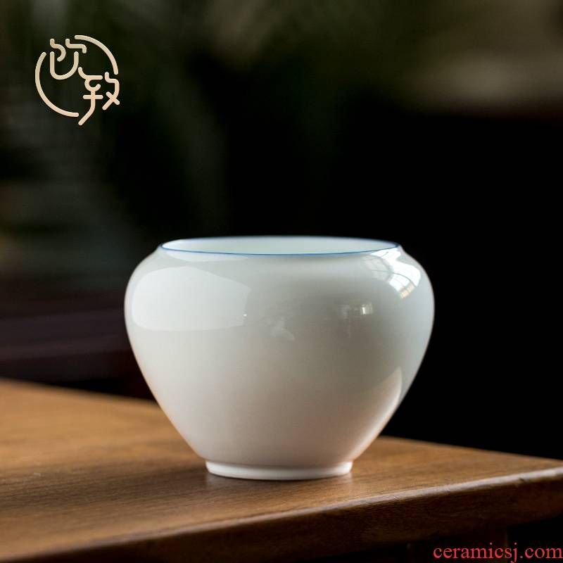 Ultimately responds to sweet white glazed building ceramic water trumpet tea wash water, after the Japanese zen white porcelain tea accessories in hot water bucket